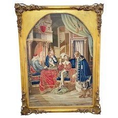 """19th Century Embroidered Tapestry French Royal Court """"Playing Chess"""""""