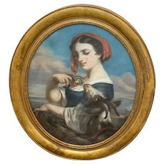 """Large Pastel 19th Century Oval French """"Neapolitan Young Woman Feed Goat Flowers"""""""