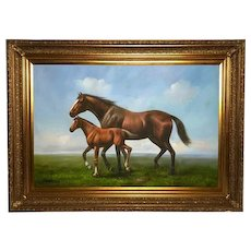 Large Fine English Portrait Oil Painting Mare Horse & Foal Circa 1970's