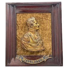 Victorian Gilded Ormolu Bronze Portrait Duke Wellington Plaque