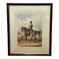 19th Century Military Watercolour 10th Royal Hussars Guard On Horseback By Henry Martens