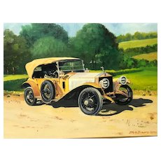 Fine Art 20th Century Decorative Oil Painting Classic Car 1913 Rolls Royce Silver Ghost
