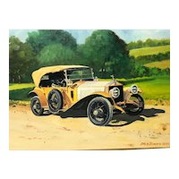 Fine English Oil Painting Car Portrait Rolls Royce Silver Ghost Circa 1970 Signed