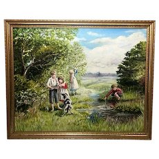 English Landscape Oil Painting Children By River With Dog Circa 1970's