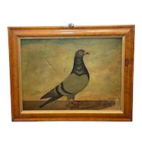 Oil Painting English Racing Pigeon Dated 1912 Signed A.F