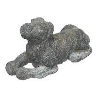 Small 19th Century Lead Garden Recumbent Hound Dog Sculpture