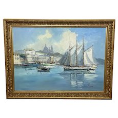 Oil Painting Dutch Fishing Harbour Channel Coast Signed Bernhard Laarhoven