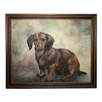 20th Century English School Portrait Dachshund Sausage Dog Oil Painting