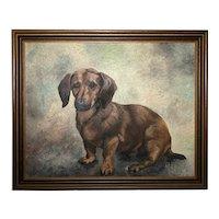 20th Century Fine Wall Art English School Portrait Dachshund Sausage Dog Oil Painting