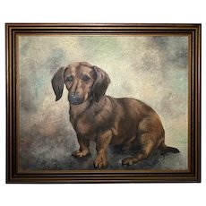 20th Century Fine Wall Art English School Portrait Dachshund Sausage Dog Oil Painting