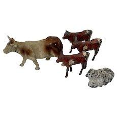 Set Miniature Antique Lead Cold Painted Farm Animals Cow Calves Sheep