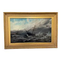 Huge Seascape Oil Painting Sinking Ship Signalling Rescuers By Henry E Tozer (1864-c1938)
