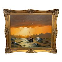 """Seascape Oil Painting """"St Ives Fishing Boat"""" Signed Keith English"""