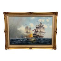 Seascape Oil Canvas Painting French & English Naval Frigate Ships Sea Battle
