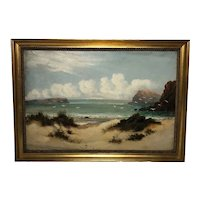 English Victorian Oil Painting Circa 1900 Gulls On The Shoreline Listed William Langley