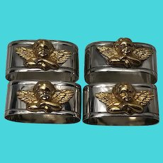 Set 4 Vintage French Silver Plate Gilt Cherub Mounted Napkin Rings