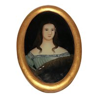 Antique Italian Oil Painting 19th Century Miniature Portrait Lady Countess