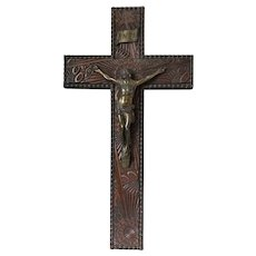 Antique Victorian French 19th Century Carved Wood & Gilt Over Silver Plate Crucifix Jesus Christ Wall Hanging Plaque
