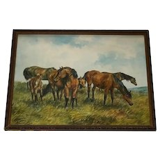 Fine English School Watercolour Painting Cleveland Bay Horses Foals Frances Fry