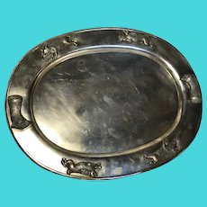 Large Fine Antique Victorian 19th Century Danish Silver Plate Animal BBQ Meat Platter Salver