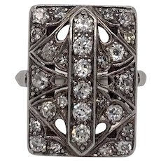 Platinum Vintage Art-Deco Cocktail Ring