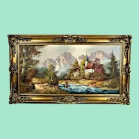 """Oil painting with a magnificent golden frame """"Berchtesgardener Land Ramsau Church"""""""