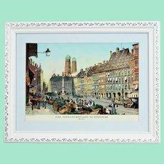 Schrannenplatz in München around 1835 .vintage lithography