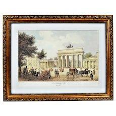 The Brandenburg Gate. vintage lithography