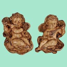 Two vintage ceramic singing angels