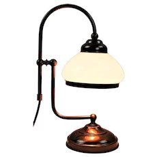 Vintage student lamp made of solid brass and opaline glass from the 50s and 60s.