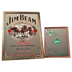 Two vintage advertising mirrors Jim Bean and Perrier
