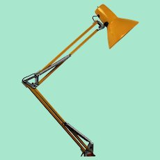 Yellow vintage architecture desk lamp made by Waso, Sweden
