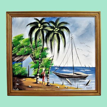 Fishing in Africa, signed oil painting