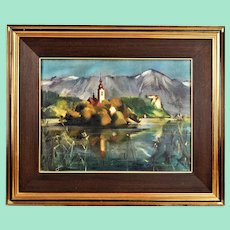 The church in the middle of the lake, oil painting on canvas