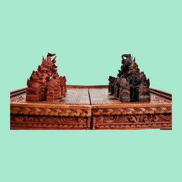 Very rare, original chess. Mid-twentieth century. Natural wood. Handmade.
