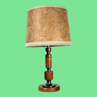 Vintage solid wood and chrome table lamp Gleibo Hillebrand