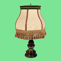 Wooden and copper table lamp from the mid-1950s.