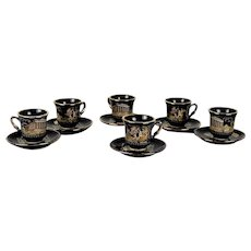 Set of 6 vintage coffee cups handmade in Greece. with 24 carat gold details.