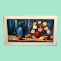 Still life with flowers and fruits, original oil painting.