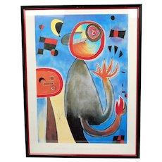 print art with frame Joan Miró Poster - Les Échelles En Roue De FEU Traversent L'azur, 1953