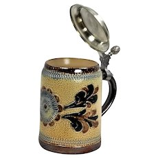 Vintage ceramic beer mug with tin lid