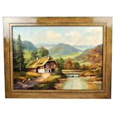 Farm in the mountains Black Forest, oil painting