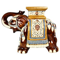 Vintage elephant from the English majolica pottery Seat Raj