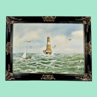"""Vintage oil painting """"Seascape with lighthouse"""" Signed and framed oil painting"""