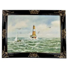 "Vintage oil painting ""Seascape with lighthouse"" Signed and framed oil painting"