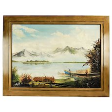 Lake in the Black Forest mountains original fine oil painting