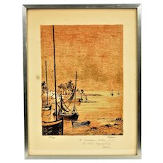 Claude Casati Original signed and limited lithograph, the city coast with dedication