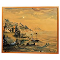 Unique vintage engraving,The Old Port. made for a special occasion in 1978.