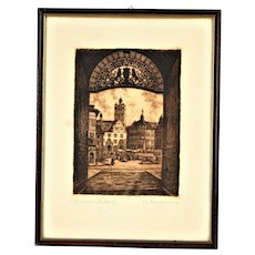 """Engraving """"Darmstadt through the castle gate to the square""""."""