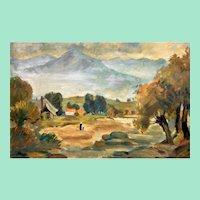 Mountain landscape, oil painting by Přemysl Janíček